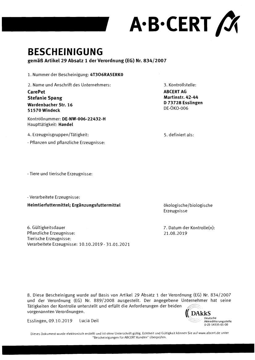 Öko-Zertifizierung CarePet